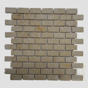 Brushed Antique finish light yellow limestone Mosaic wall tiles