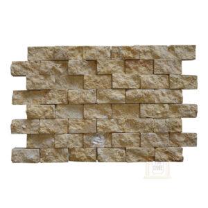 Dark Yellow Split Face limestone Mosaic wall tiles