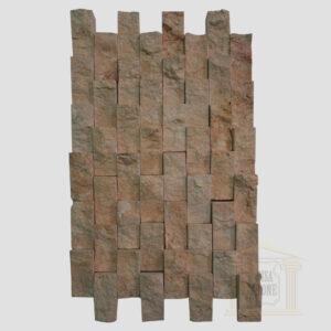 Dark Yellow Split Face Strait limestone Mosaic wall tiles