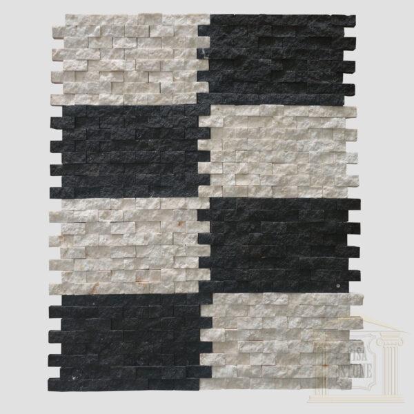 White Split Face limestone Mosaic wall tiles