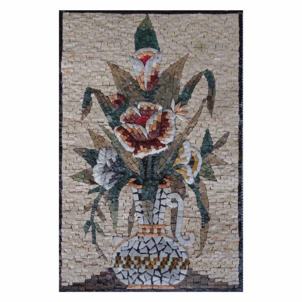 Multicoloured Flowers in White vase Marble Stone Mosaic Art