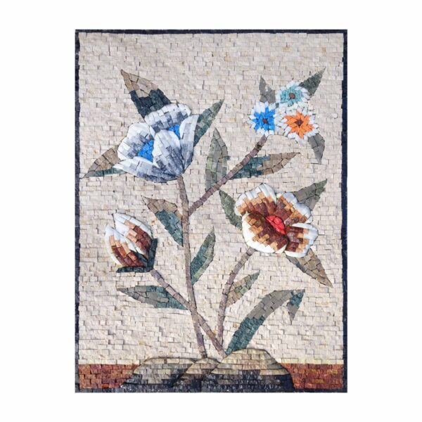 Multicoloured Bright Flower Cluster Marble Stone Mosaic Art
