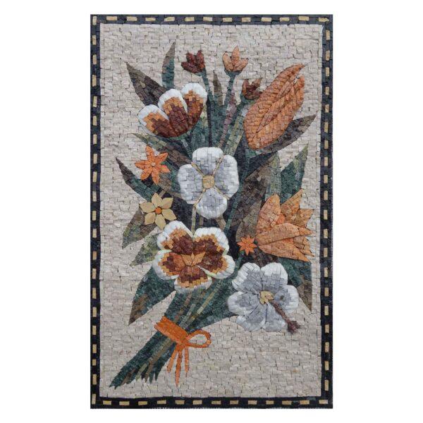 Multicoloured Flower Bundle Marble Stone Mosaic Art