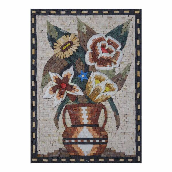 Multicoloured Flowers in a Vase Marble Stone Mosaic Art
