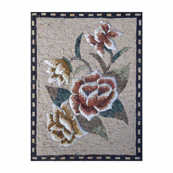 Multicoloured Romantic Flower Bundle Marble Stone Mosaic Art