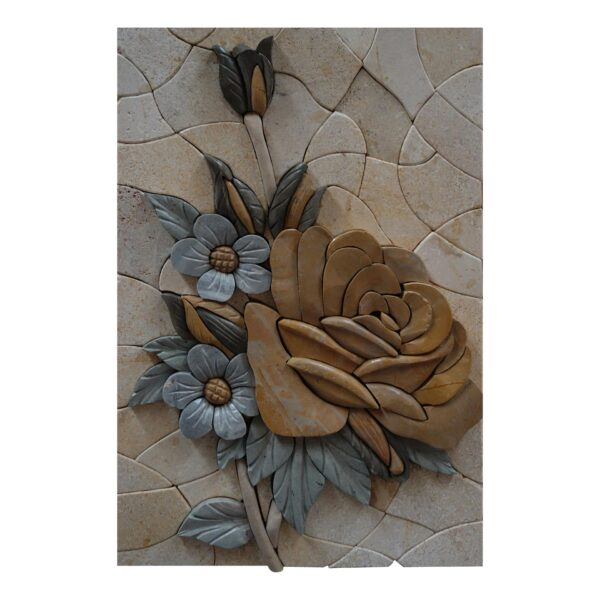 Multicoloured Flowers Bundle (Left) Marble Stone Mosaic Art