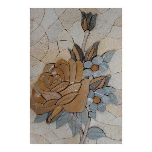 Multicoloured Flowers Bundle (Right) Marble Stone Mosaic Art