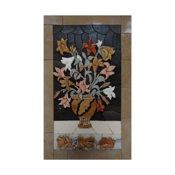Multicoloured Flowers, Dark background Marble Stone Mosaic Art