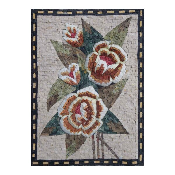 Multicoloured Flowers Branch Marble Stone Mosaic Art