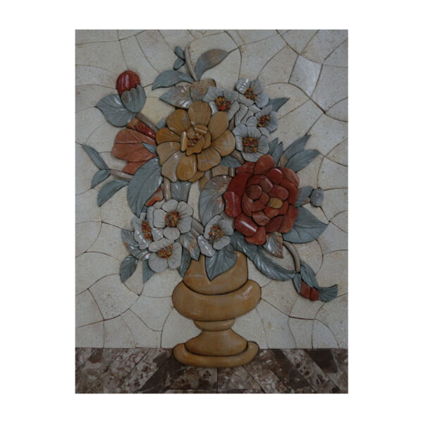 Orange Vase On Table Marble Stone Mosaic Art