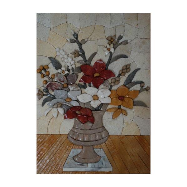(Orange) Vase On White Mat Marble Stone Mosaic Art