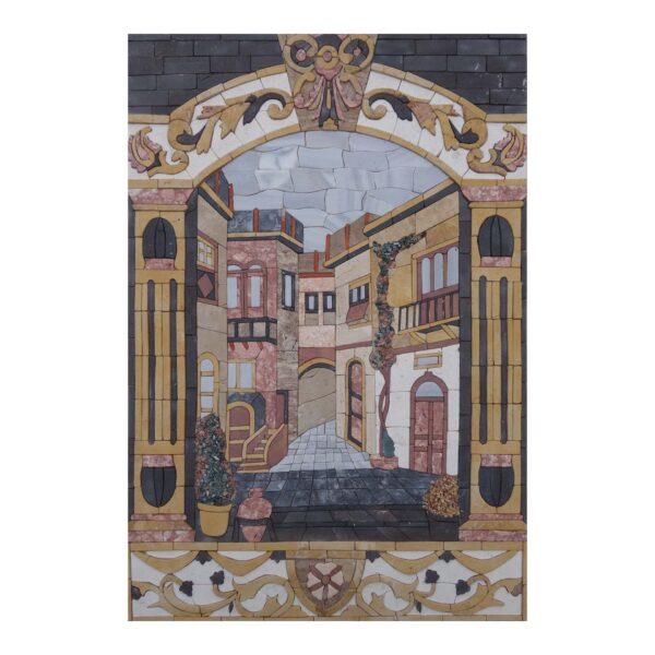 Ornamental Multicolored Decorations Marble Stone Mosaic Art