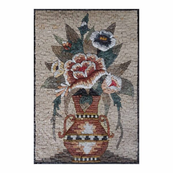 Ornamental Multicoloured Flower Vase Marble Stone Mosaic Art