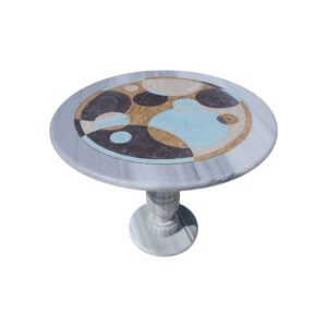 Overlapping circles glazed polished marble mosaic circular table