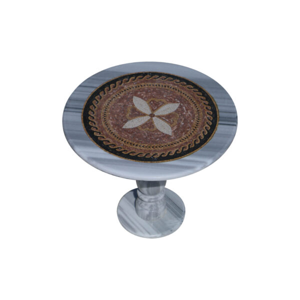 Overlapping figures glazed polished marble mosaic circular table