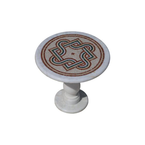 Overlapping geometric glazed polished marble mosaic circular table