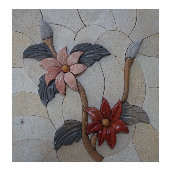 Pretty Multicolored Flowers Branch Marble Stone Mosaic Art