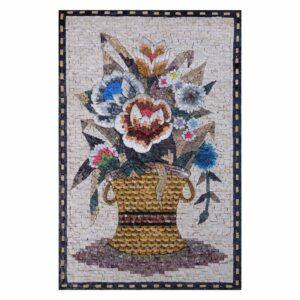 Flowers in Modern Basket Marble Stone Mosaic Art