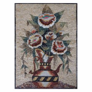 Puffed Multicoloured Flowers Vase Marble Stone Mosaic At