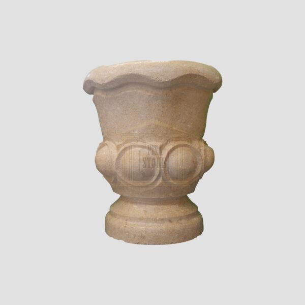 Matt Light Yellow Limestone Urn Garden