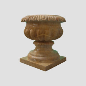 Glazed polished Dark yellow Limestone Urn 1 Smart Stone urns, planters, vases