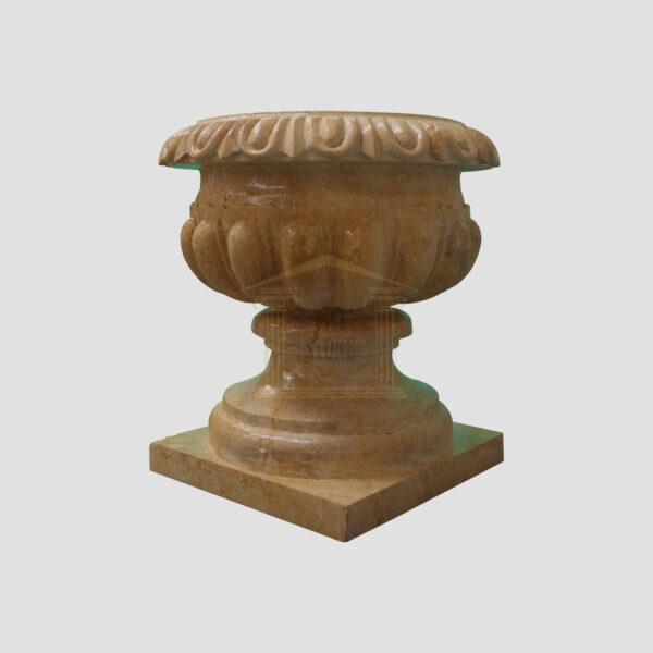 Glazed polished Dark yellow Limestone Urn 1 Smart Stone urns, planters, vases
