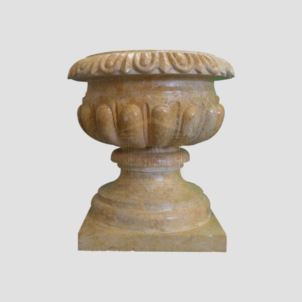 Glazed polished Dark yellow Limestone Urn 2 Smart Stone urns, planters, vases