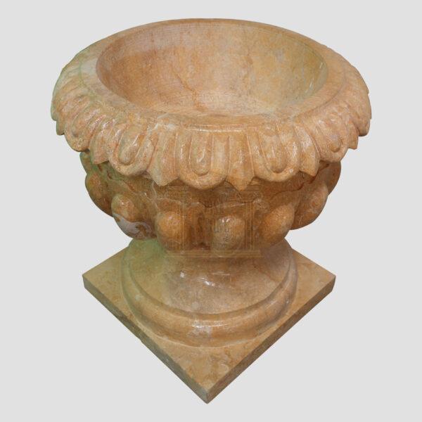 Glazed polished Dark yellow Limestone Urn 3 Smart Stone urns, planters, vases