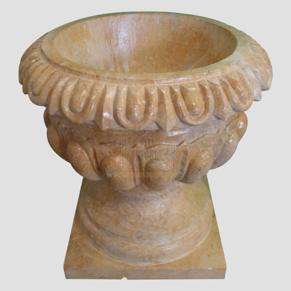Glazed polished Dark yellow Limestone Urn 4 Smart Stone urns, planters, vases