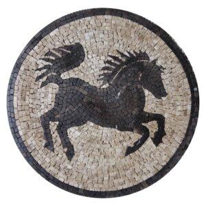 Black Horse Marble Stone Mosaic Art