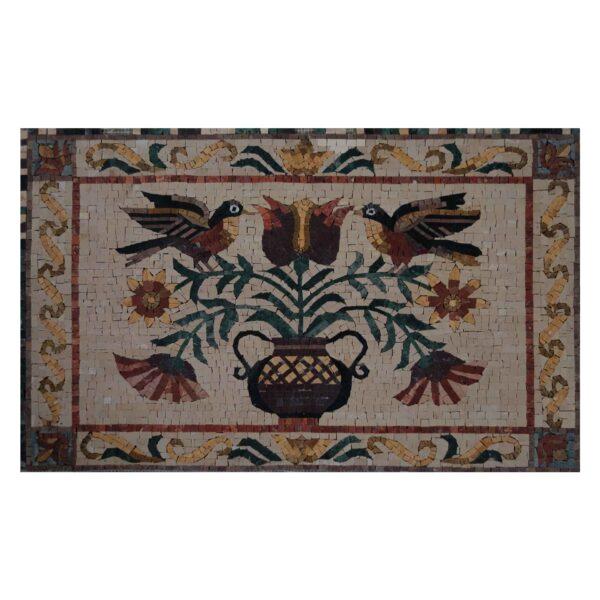 Glazed Polished Rectangular Ornamented Marble Stone Mosaic With Love Birds