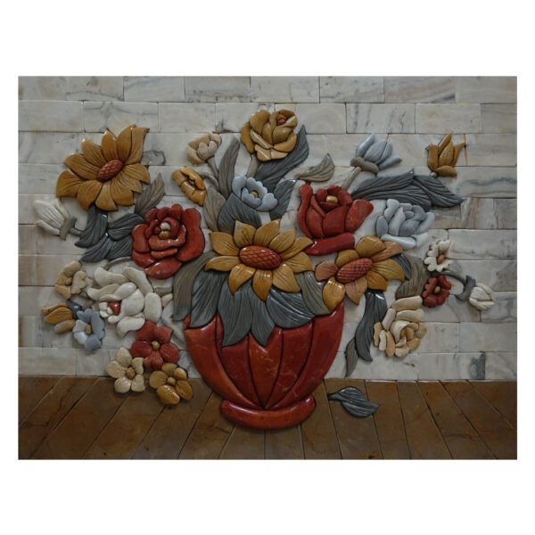 Red Vase Marble Stone Mosaic Art