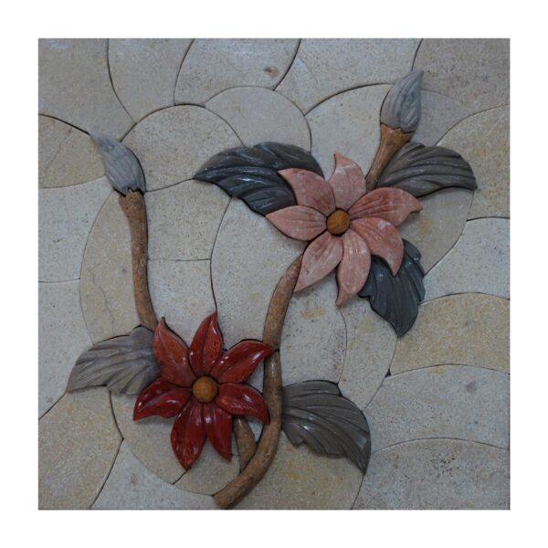 Red and Pink Flowers Marble Stone Mosaic Art