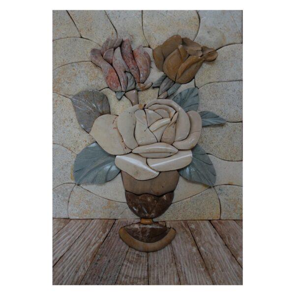 Romantic Flowery Typical Vase Marble Stone Mosaic Art