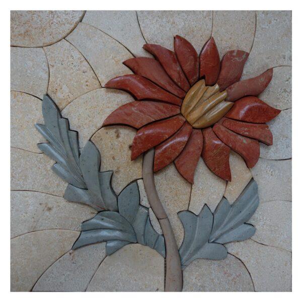 Romantic Velvet Flower Marble Stone Mosaic Art