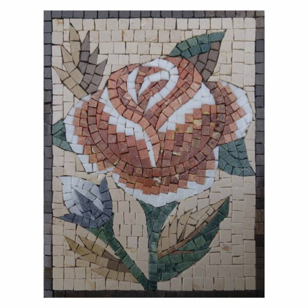Romantic Multicoloured Bright Rose Marble Stone Mosaic Art