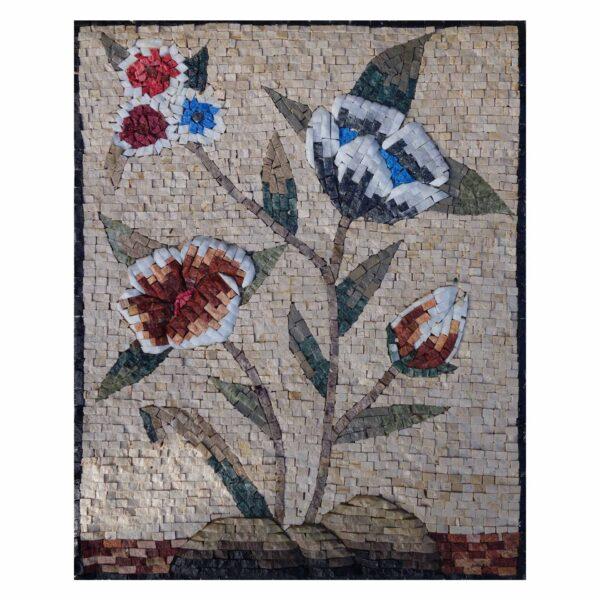 Romantic Multicoloured Flowers Cluster Marble Stone Mosaic Art