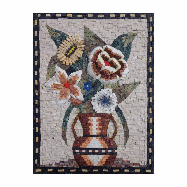 Romantic Multicoloured Marvelous Flowers Vase Marble Stone Mosaic Art