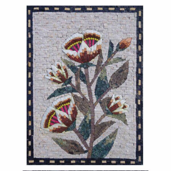 Romantic Multicoloured Shining Flower Cluster Marble Stone Mosaic Art