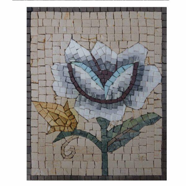 Romantic Multicoloured Stylish Rose Marble Stone Mosaic Art