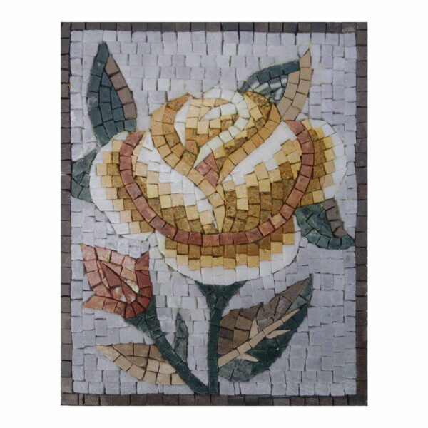Romantic Full Yellow Rose Marble Stone Mosaic Art