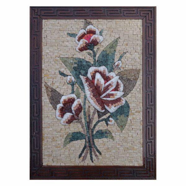 Romantic Multicoloured Rose Marble Stone Mosaic Art