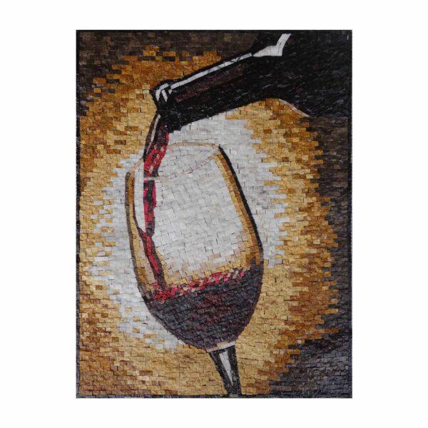 Glass Of Wine Marble Stone Mosaic Art