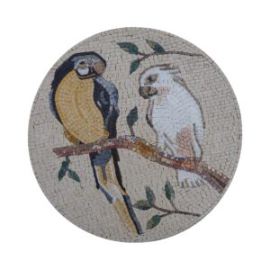 Parrots On A Tree Marble Stone Mosaic Art