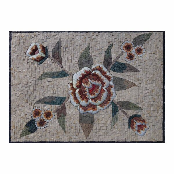 Romantic Smooth Multiple flower Cluster Marble Stone Mosaic Art