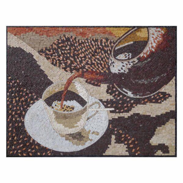 Pouring Tea Marble Stone Mosaic Art