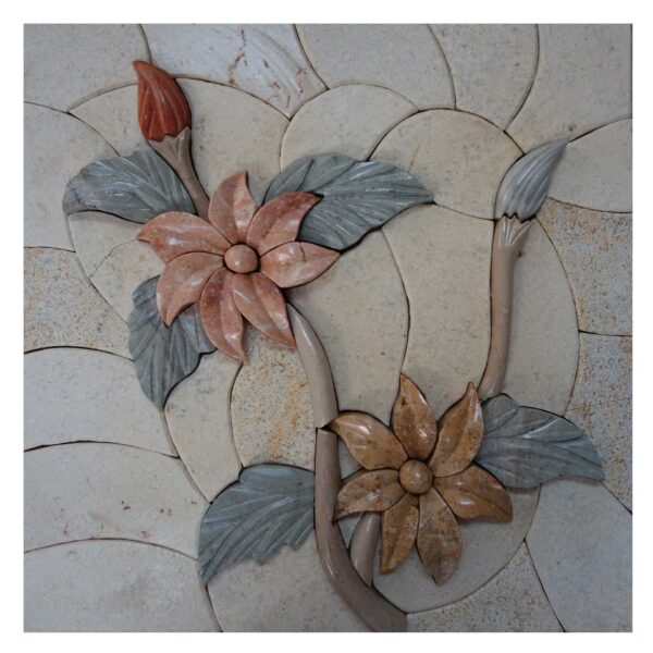 Rosy floral multicolored flowers branch marble, stone mosaic art