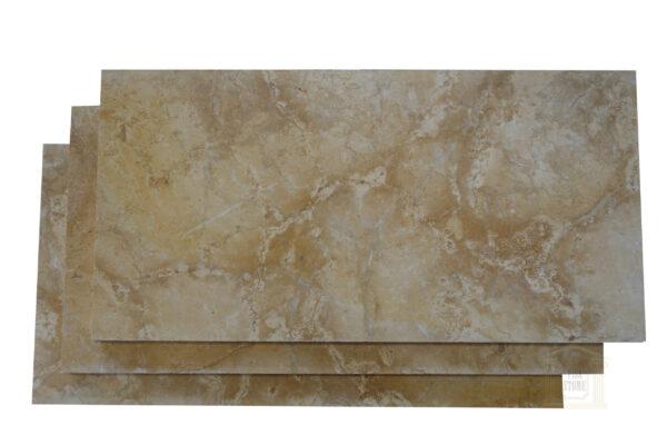 Glazed polished Dark Yellow limestone tiles