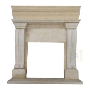 Light Yellow Limestone Fireplace