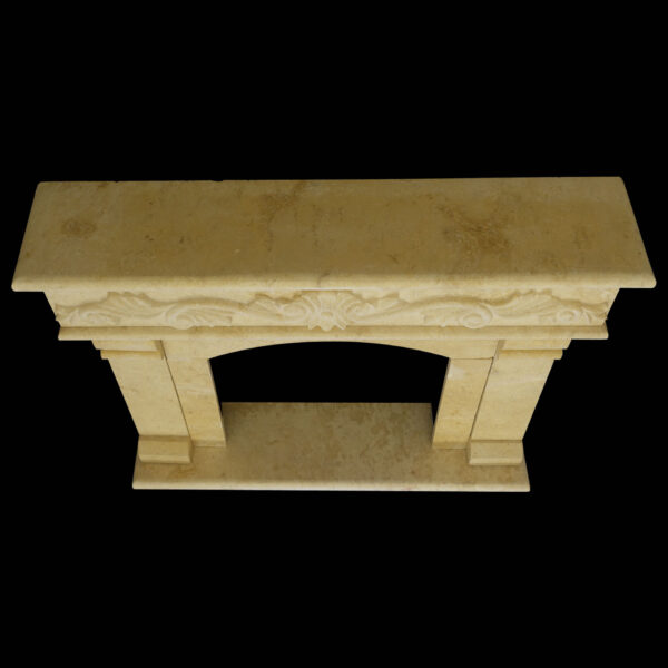 Matt Light Yellow Limestone Fireplace